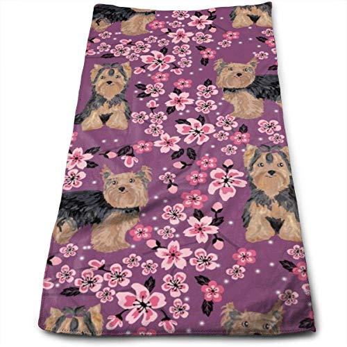 Wodann Yorkie Kirschblüte - Yorkshire Terrier Hund Kirschblüten Handtücher Geschirrtuch Floral Leinen Handtücher Super weich 11,8