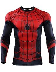 SPORTS BOY Maglietta da Uomo, Spiderman Collant I Vendicatori meraviglia Manica Lunga A-M