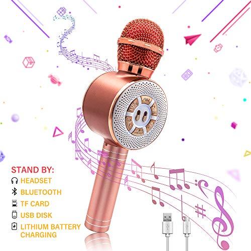 Altoparlante Bluetooth Microfono per karaoke wireless, Luci a LED GreeSuit Registratore di altoparlanti portatile Macchina per Lettore di casa KTV per bambini Adulti Compatibile con Android e iOS