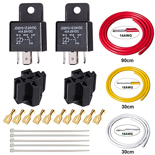 24 Volt 30 Amp (FOSHIO 24V DC 40/30 Amp 5-Pin SPDT Automotive Relais mit Sockel und Harness Set, Bosch Style Relay)