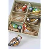Box of Six Coloured Glass Bird Hanging Decorations