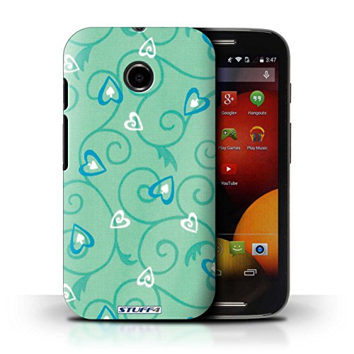 Kobalt® Imprimé Etui / Coque pour Motorola Moto E (2014) / Jaune/Vert conception / Série Coeur Vigne Motif Turquoise/Bleu