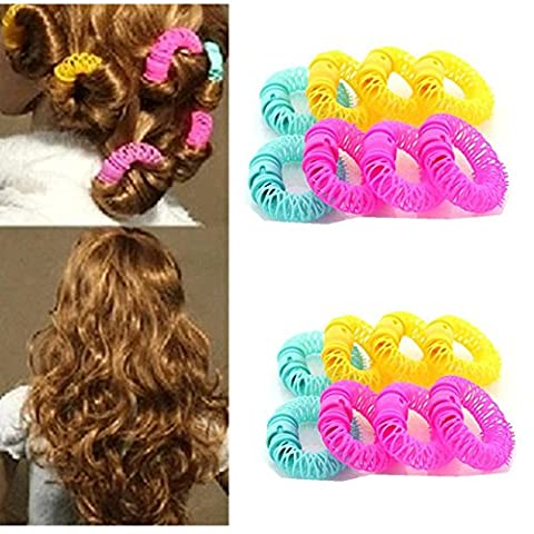 SwirlColor 12 pièces Magie Doughnut Donut Bâtons Rollers Spiral Circle Plastic Curly Hair Curler Curl Rouleau Ringlets Vague Coiffure Soins Coiffure Maker Hair Styling Outil