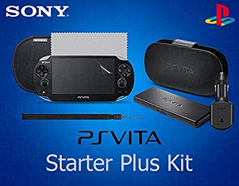 OFFICIAL PS Vita 7 in 1 Starter Plus Accessory Kit - Includes: Leather Flip Case Stand, Slip Pouch, Game Card Holder, USB Car Charger, Wrist Strap, Screen Protector and Screen Cloth - (OEM Packed - No Retail