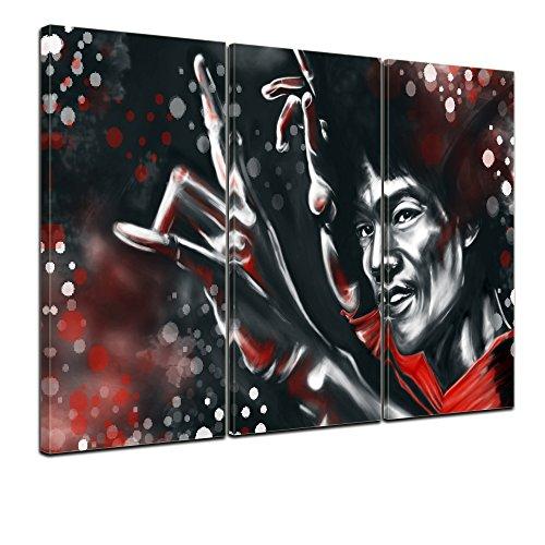 Wandbild - Bruce Lee - rot - Bild auf Leinwand - 150x90 cm 3tlg - Leinwandbilder - Urban & Graphic - Hollywood - China - Schauspieler - Kung Fu