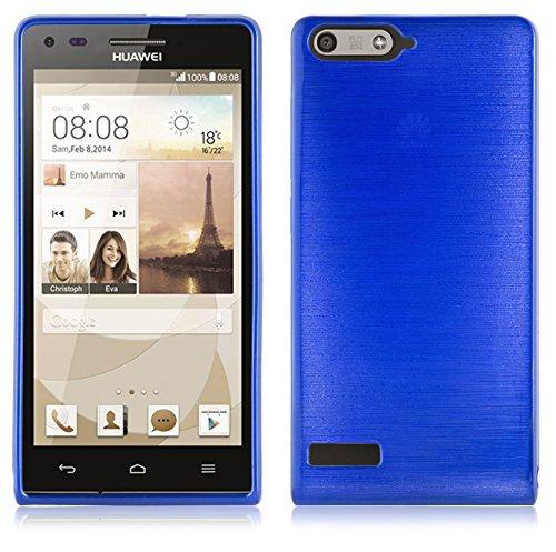 Cadorabo DE-105027 Huawei Ascend P7 Mini Handyhülle aus TPU Silikon in gebürsteter Edelstahloptik (Brushed) Blau