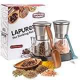 Lapurete's Set Macina Sale e Pepe-(2pcs) - elegante mulino di sale - mulino di pepe- bravo per sale Himalayan - corpo in vetro con macina ceramica regolabile-(senza spezie incluse)