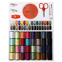 64 Assorted Multi- Colors 200 Yards Polyester Sewing Thread Spool Set for Hand Sewing Industrial Machine