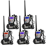 Retevis RT5RV Funkgeräte Set Amateurfunk 128 Kanäle UHF/VHF Funkgerät 2m/70cm Dualband Walkie Talkie mit Headset CTCSS/DCS FM Radio Two Way Radio Walkie Talkies Funkamateur (5 Stk., Schwarz mit Silber)