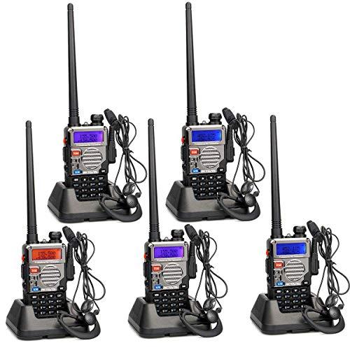 Retevis RT5RV Funkgeräte Walkie Talkies Set 128 Kanäle Dualband Funkgerät 2m/70cm CTCSS/DCS VOX FM Radio Fungkeräte Headset Amateurfunk (5 Stücke, Schwarz mit Silber)