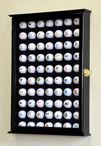 70Golf Ball Display Fall Schrank Wall Rack Halter w/98% UV-Schutz abschließbar, Black Finish