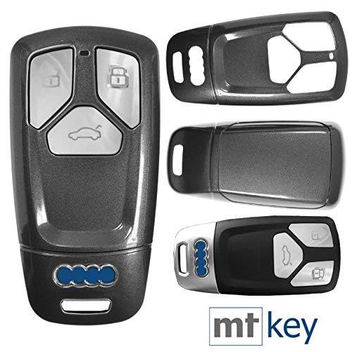 Keyless Auto Schlüssel Cover Hülle Smartkey Hartschale Grau für Audi A4 A5 A6 A7 TT Q2 Q5 Q7 A8 Q8