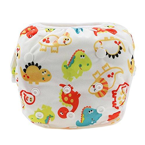 Eizur Schwimmwindel für Babys/ Kleinkinder, verstellbar, wiederverwendbar, waschbar, auslaufsicher, wasserfest, atmungsaktiv, für Wassersport, in 12 Designs erhältlich, Dinosaurier