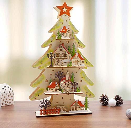ABC Home Living ❄ Weihnachtsdeko Tannenbaum ❄ ✔ für Innenbereich ✔ Batterie ✔ LED, Holz, mehrfarbig, ca. 5 cm T x 21,5 cm B x 36 cm H