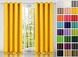 modern Vorhang (Gelb 5) Schal mit Ösen 140x250 CM lichtundurchlässig Gardine, Ösenvorhang Ösenschal für Kinderzimmer, Jugendzimmer, Schlafzimmer, Küche in 40 FARBEN!