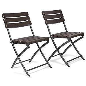 Vanage Gartenstuhl in braun – klappbare Gartenstühle im 2er Set – hochwertige Klappsessel in Holzoptik – Hochlehner…