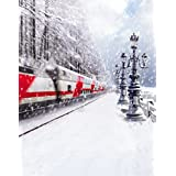 A.Monamour Scenic Winter White Snow Trees With Rimes Hoarfrost Christmas Holiday Mural Party Wall Decorations Vinyl Fabric Photography Backdrops 5x7ft - Train On The Go