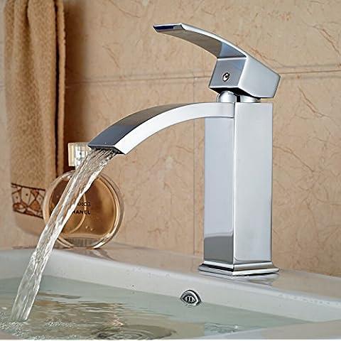 LYNDM Cuenca del grifo del baño nuevo grifo cascada con un asa de latón vaso mezclador lavabo vanidad toca grifos de agua fría y caliente para