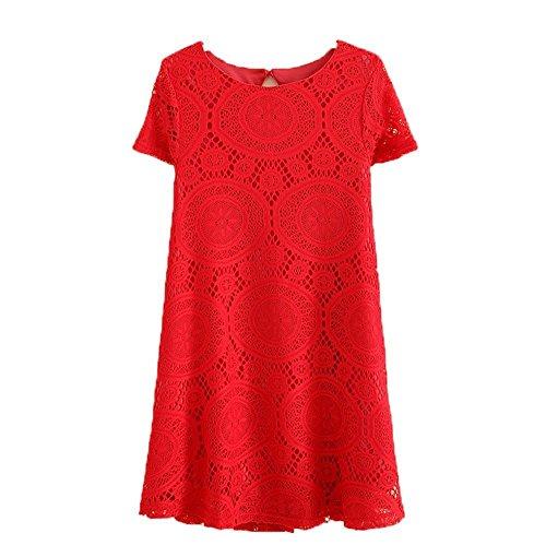 Damen Sommerkleid Shirt Locker A-Linie Tunika Tunikakleid Bluse Oberteil Damenbluse Kleider Top Kurz Knielang Sommer Kleid Mit Spitze Rot