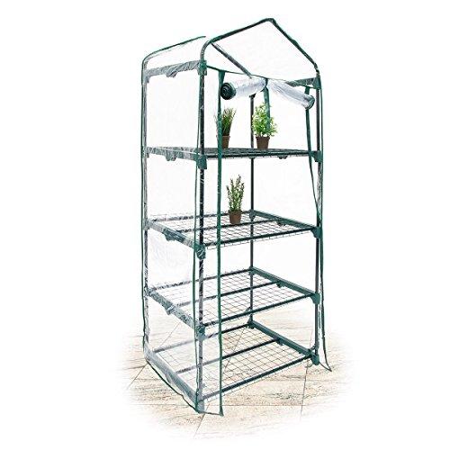 Relaxdays 10018890 Gewächshaus 4 Etagen klein für Balkon Foliengewächshaus, transparent
