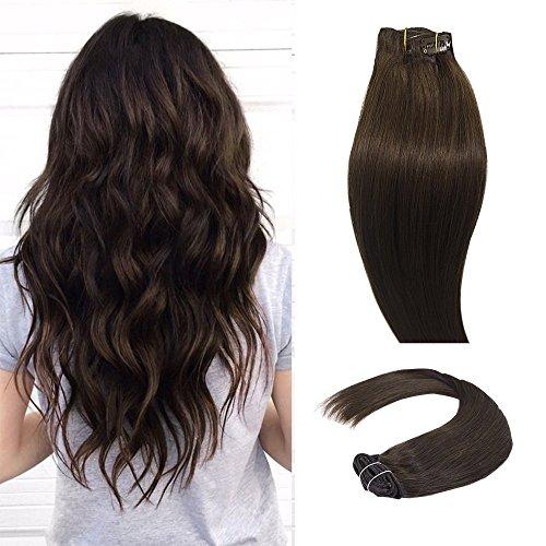 Clip in Extensions Haarverlängerung Set 100% Echthaar 7 Haarteil und 16 Klipps in 55cm mittelbraun