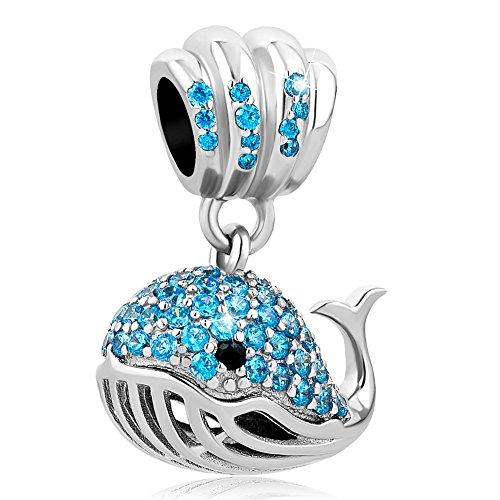 uniqueen Sterling Silber Blau Kristall Schöne Fisch Charms baumeln Perlen für Charm-Armbänder (Fische Schöne)