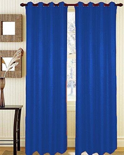 Coppia tendoni tinta unita con occhielli misura 140x290 cm colore blu