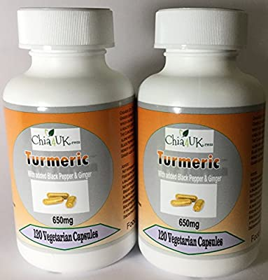 Turmeric & Black Pepper & Ginger Capsules | Chia4uk Ltd| HIGH STRENGTH 650mg |240 Veg capsules 2 x 120 Bottles | Made In the UK| Great For Joint Pain and Arthritis Relief by Chia4uk Ltd