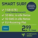 mobilcom-debitel Smart Surf mit 1GB LTE Internet Flat maximal 21 MBit/s, 50 Frei-Minuten und 50 SMS, 24 Monate Laufzeit, monatlich nur 2,99 EUR, Triple-SIM-Karten