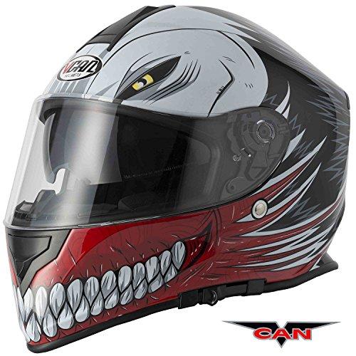 Caschi integrale: nuovo stile caschi faccia vcan v127 cava grafico acu completa, moto sportiva casco (rosso) (xl)