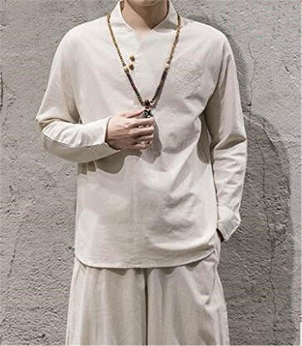 Herren Outdoor Sportbekleidung/Yoga und Meditation/Baumwoll Leinenanzüge/Top und Hose / 2 Stück, White, M