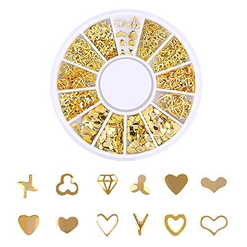 Dekoration Ocean Nail Art Studs Gold Charms Sommer Sea Metal Alloy Nieten Shell Starfish Kristall Glitter Strass UV Gel Acryl Tipps Aufkleber DIY ()