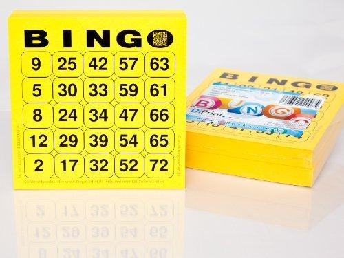 200 große Bingokarten für Senioren 25 aus 75 (gelb)