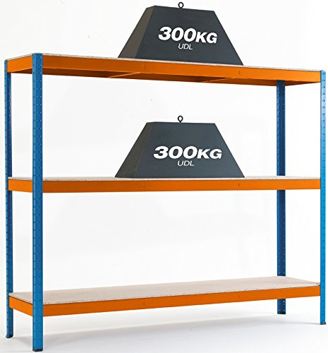 Steel Shelving Garage Warehouse Heavy Duty Racking Shelves 300kg UDL 3/4 Levels 6 Sizes Available (3 Levels 1500h x 1800w x 450d mm)