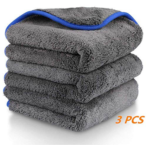 Darius James 3 Stücke Auto Reinigungstuch Tücher 1200gsm Mikrofasertücher poliertuch mit zum Waschen/Putzen/Polieren und Trocknen von Fahrzeugen (38 x 43cm)