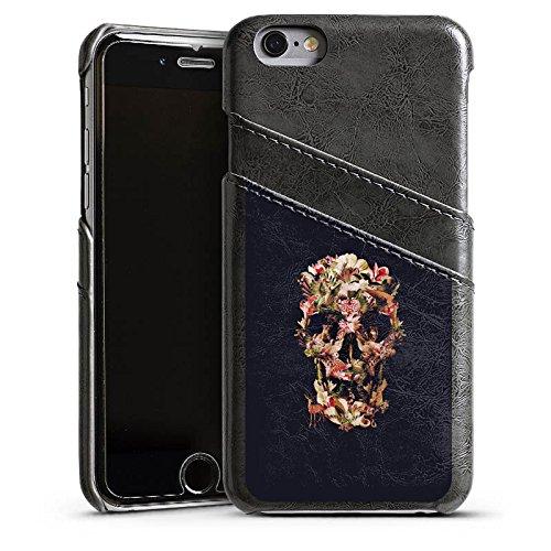 Apple iPhone 5s Housse Étui Protection Coque Crâne Tête de mort Crâne Étui en cuir gris