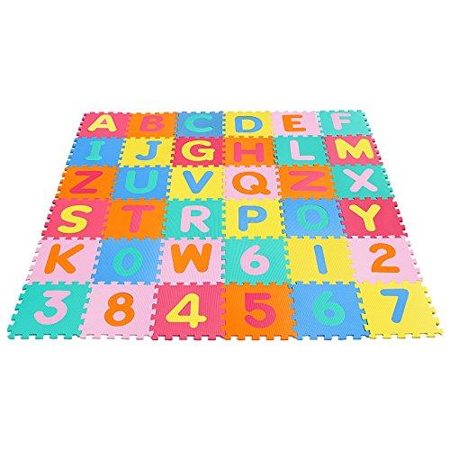Yorbay Puzzlematte EVA Schadstofffrei Kinderspielteppich Spielmatte für Kinder-Garden EVA 36 (86 Stück.) Buchstaben Teppich