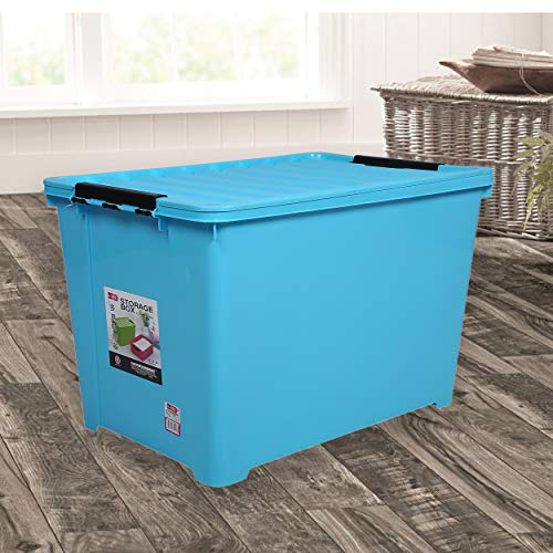 BUCKLE UP 60 Litre Plastic Multipurpose Storage Box with Lid (Blue)