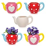 """Keramik-Blumentöpfe """"Teekanne"""" für Kinder zum Gestalten, Bemalen und Verzieren - Kreatives Bastelset für Kinder/Erwachsene (2 Stück)"""