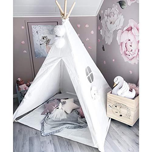 Kinder Tipi spielen Zelt - 1,5 m große Handwerk Zelt Spielhaus, kommt mit Bodenmatte, Spaß Indoor Outdoor Play Center von Wonder Space (Pure White)