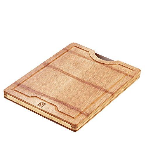 Cook N Home NAURAL Bamboo Schneidebrett mit Griff umschaltbar, 40x 30,5x 3cm Bambus (Bamboo Totally Schneidebrett)