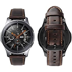 Correas Cuero Piel iBazal 22mm Pulseras Bandas Compatible con Samsung Galaxy Watch 46mm,Gear S3 Frontier Classic,Huawei GT/2 Classic/Honor Magic,Ticwatch Pro Hombres Band (Reloj No Incluido) - Café