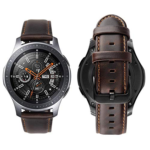 iBazal 22mm Cinturino Pelle Rilascio Rapido per Gear S3 Frontier/S3 Classic SM-R760, Galaxy Watch 46mm SM-R800, Huawei Watch GT, Huawei Watch 2 Classic, Moto 360 2nd Gen 46mm - caffè alla Moda