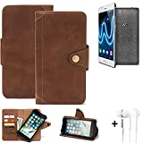 K-S-Trade Handy Hülle für Wiko Fever Special Edition Schutzhülle Walletcase Bookstyle Tasche Handyhülle Schutz Case Handytasche Wallet Flipcase Cover PU Braun inkl. in Ear Headphones (1x)