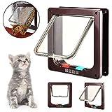 IREENUO 4-way Locking Cat Door, PET chiudibile con patta porta per Pet gatti e cani di piccola taglia con telaio telescopico installare facilmente, bianco M
