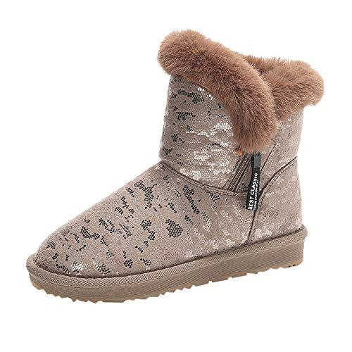 MYMYG Damen Schneestiefel Halbschaft Stiefeletten Modische Frauen Casual Leopard Print Runde Zehe Brot Baumwolle Schuhe halten warme Schneeschuhe Winterstiefel Freizeit Freizeitschuhe