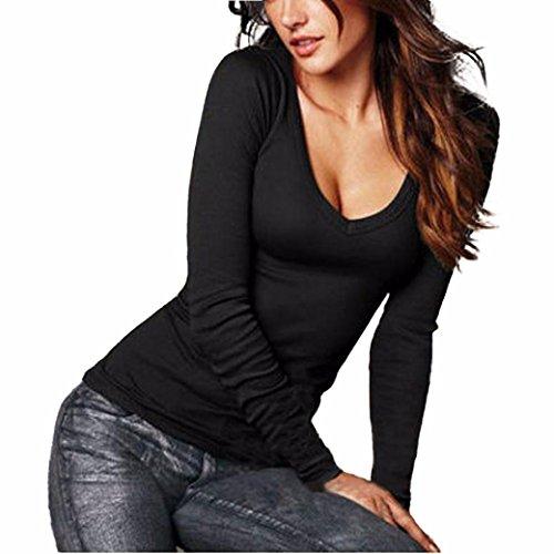 Elecenty Damen Sexy Lose Tops Pullover V-Ausschnitt BluseBlusen Solide Sweatshirt Frauen Hemd Mantel Mode Pulli T-shirt Lange Ärmel Outerwear Blusentop Kapuzenpullis (XL, Schwarz) (Pullover Crewneck Kurzarm Damen)