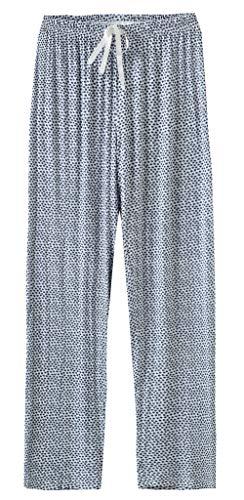 Feelingjoy Damen-Pyjama, 95% Modal, weich, gestrickt, mit Blumenmuster, Kordelzug, lang, breites Bein - Mehrfarbig - US 16