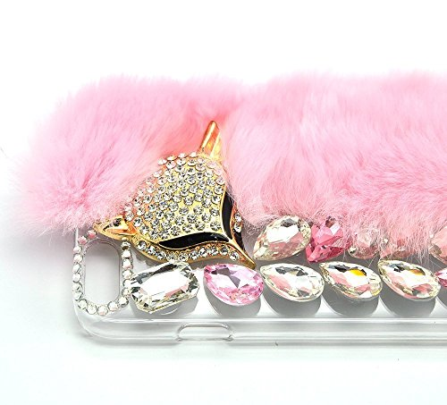 Cover per iPhone 6S Plus Diamante,Custodia per iPhone 6 Plus, Bonice Pelliccia Di Lusso Cristallo Bling [Serie peluche] ed Elegante Rex Rabbit Fur [carino] Custodia Inverno Calde Soffici Villi Eco-pel Lusso Fur - Cover - 10