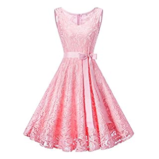 OBEEII Women Vintage Summer Dress Sleeveless Loose Pleated Swing Solid Color Short Dress for Wedding Bridesmaid Flower Girls Birthday Evening Party Cocktail Pageant Prom Dance Ball Gown 3XL Light Pink